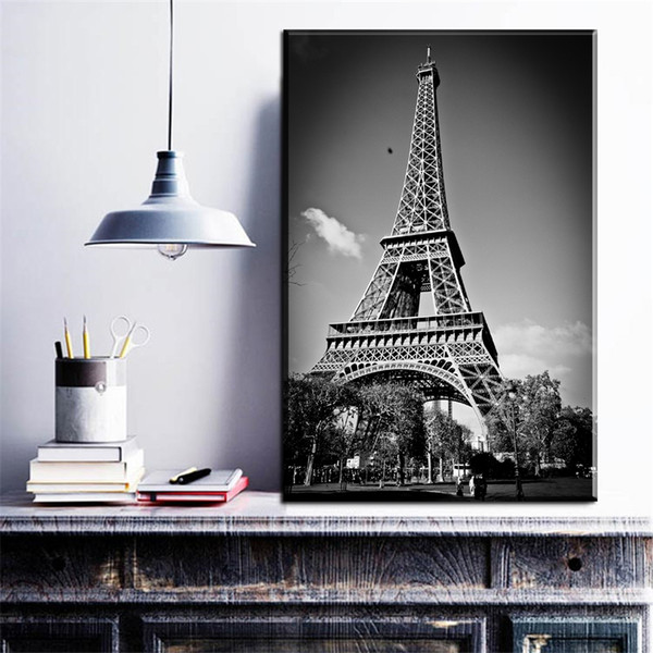 ZZ1919 Black & White Photography View Under Eiffel Tower Art Picture Wall Poster Canvas Painting for Living Room Decor