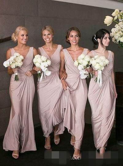 Blush Pink 2017 Bridesmaid Dresses For Summer Beach Garden Weddings Sheath V Neck Pleats Long Wedding Guest Maid of Honor Gowns Plus Size