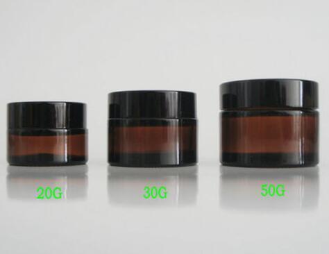 Heißes bernsteinfarbiges Glascremetiegel des Verkaufs 20pcs 20G / 30G / 50G, kosmetischer Behälter, Glasflasche des schwarzen Deckels des Kosmetikglases