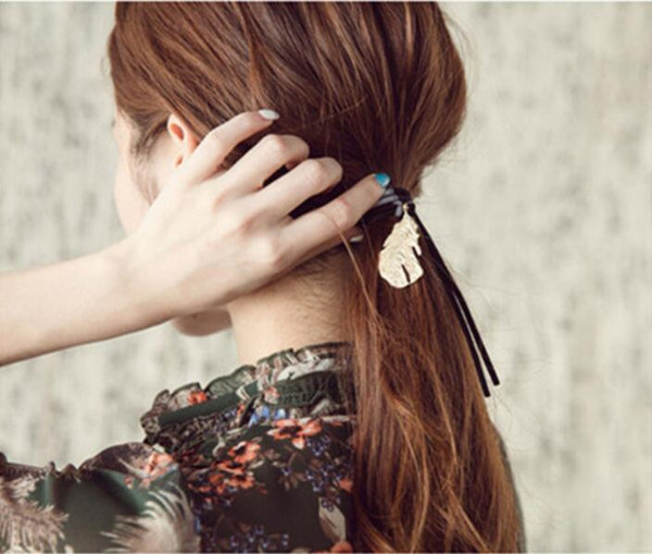 Corea ornamenti per capelli testa retrò metallo pendenti in piuma colpire il colore dei capelli corda anello capelli nappa lascia elastico