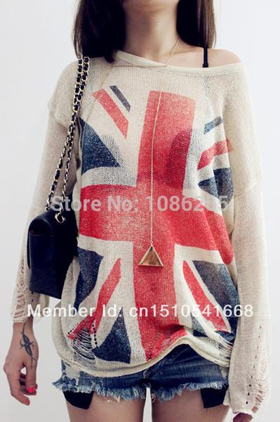 Großverkauf-Heißer Verkauf ~ Distressed britischer BRITISCHER Flagge der Frauen Druck-Loch-Knit-Strickjacken Übergroße Strickwaren-Pullover-Oberseiten gestrickter Pullover