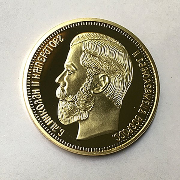 10 Pcs The Brand new 1901 Nicholas II of Russia coins commemorative 24K real gold plated 40 mm souvenir coin