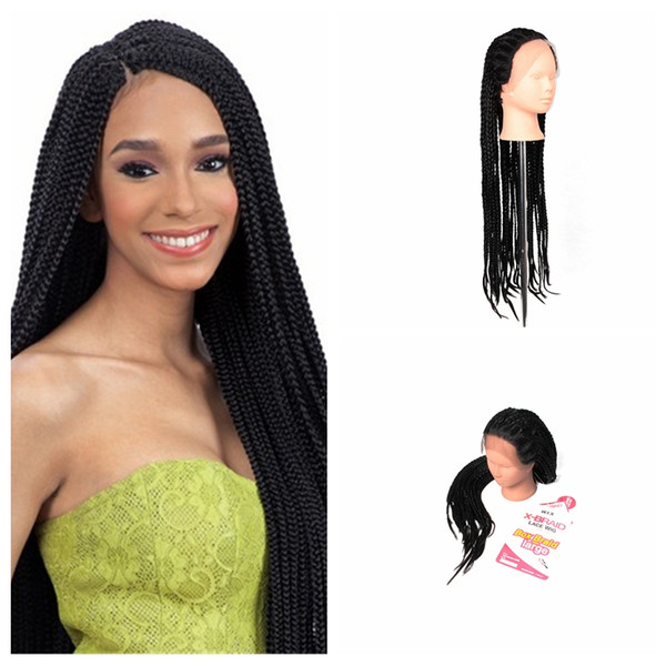 SYNTHETIC LACE FRONT WIG High Density Braided Lace Front Wigs Box Synthetic Fiber Wigs Thick Full Hand Twist Synthetic Hair Micro Twist Wigs