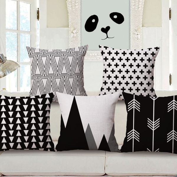 New Black & White Geometric Throw Pillow Cover Cotton Linen Cushion Cover Decorative Pillow Case For Sofa Bed Car Office 45*45cm