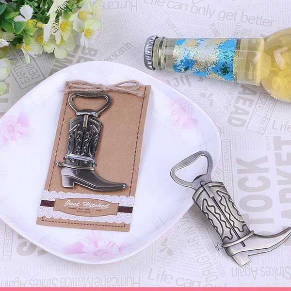 Retro Boots Chrome Bottle Opener Cowboy boots Beer Bottle Openers Wedding Favors Supplies Christmas Party Gift DHL Free Shipping