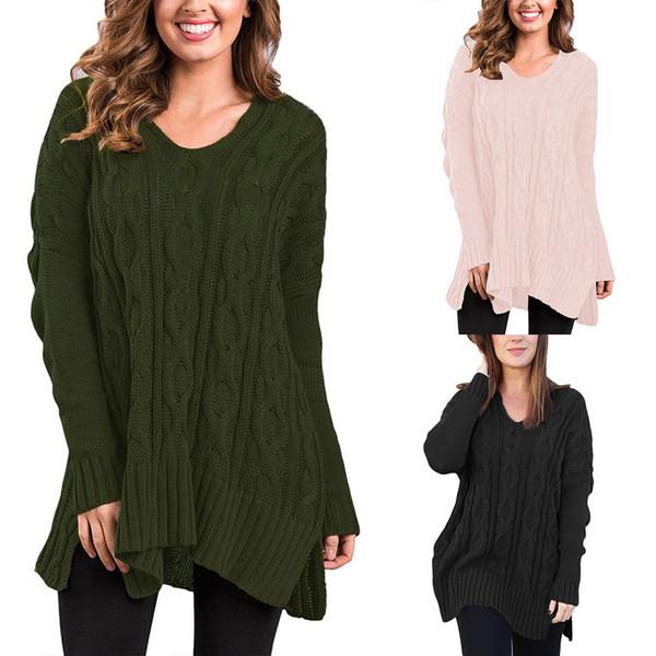 Suéteres de punto ocasionales de las mujeres del otoño e invierno Modelo geométrico de señora con cuello en V manga larga Suéter flojo diario superior