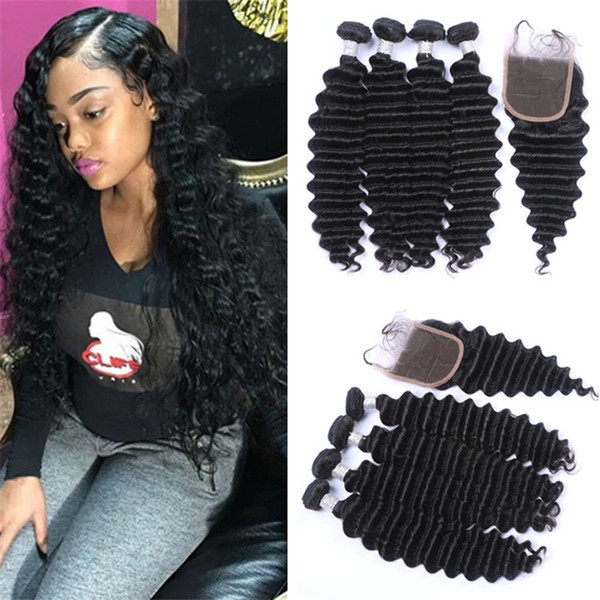 Brazilian Deep Wave Virgin Hair 4 Bundles With Lace Closure Human Hair Weaves 4Pcs With Top Closure Curly Hair 5Pcs Lot