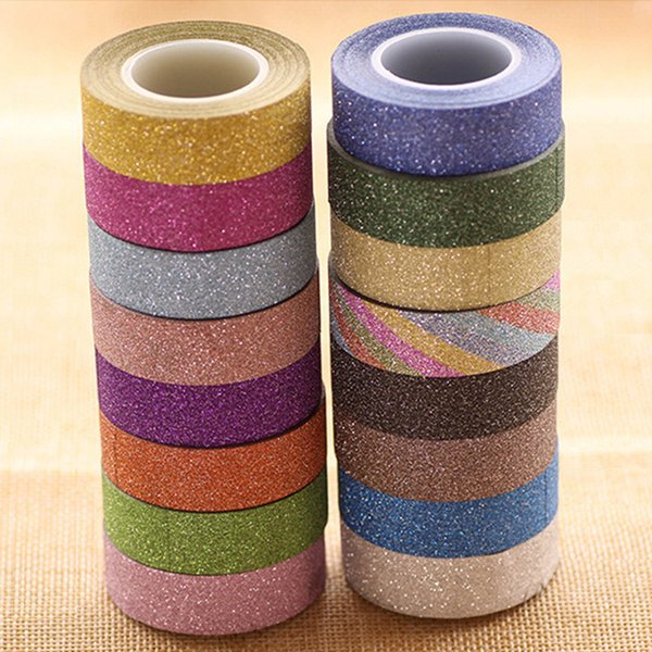 top popular 1.5CM  10M Glitter Washi Sticky Paper Masking Adhesive Tape Label DIY Craft Decorative Free Shipping 2016 2019