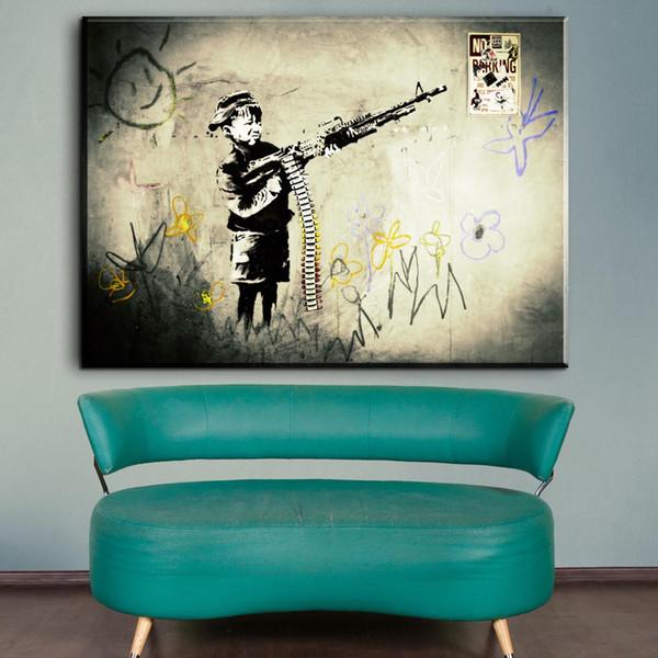 Zz1323 simple abstract canvas art cartoon boy banksy canvas prints art painting for livingroom bedroom decoration