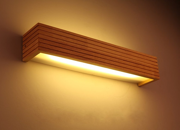 top popular Modern Japanese Style Led Lamp Oak wooden Wall Lamp Lights Sconce for Bedroom Home Lighting,Wall Sconce solid wood wall light LLFA 2021