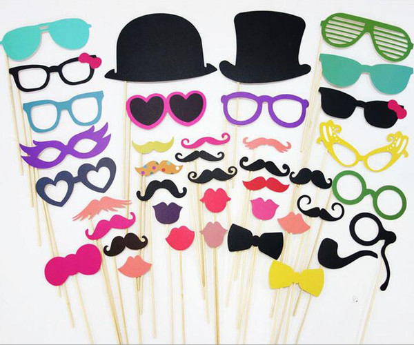 36pcs/lot Handheld Photo Props Photo Beard Lips Bow Tie DIY Masks On A Stick Graduation Weeding Party Favor DIY Masks