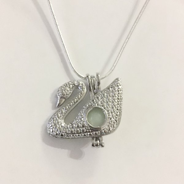 18KGP Swan Locket Cages, Can Hold A 8mm Pearl Gem Bead Cage Pendant Mounting, DIY Fashion Necklace Jewellery Fitting