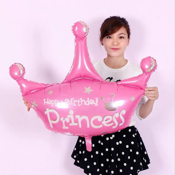 10pcs/lot 103*93cm pink and purple helium baloon princess crown foil balloons for happy birthday party decoration globos
