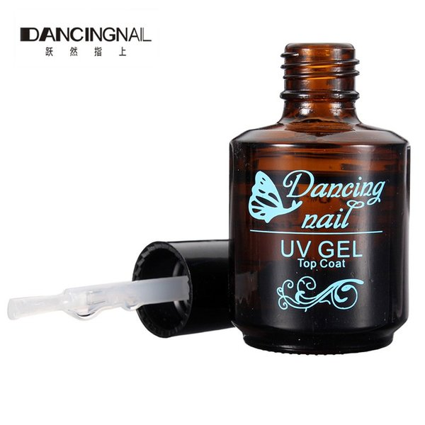 Wholesale-New 1Pc 20ml DANCINGNAIL Natural Nails Topcoat Gloss Nail Art Tool Products Acrylic Top Coat For UV GEL Tips