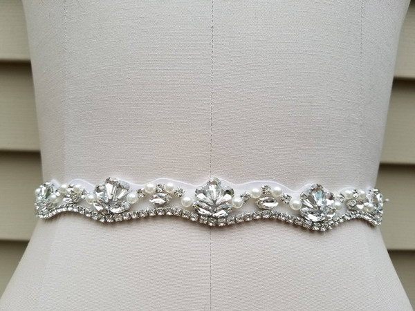 Handmade Silver Rhinestones Appliques Wedding Belt Clear Crystal Sewing on Bridal Sashes Wedding Dresses Sashes Bridal Accessories T8
