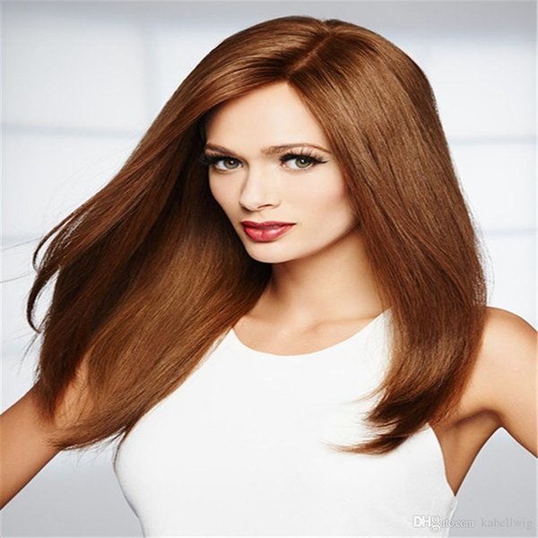 kabell Glueless Full Lace Human Hair Wig Straight Natural Color Light Brown Brazilian Remy Hair Wig 130% Density With Baby human Hair 100%