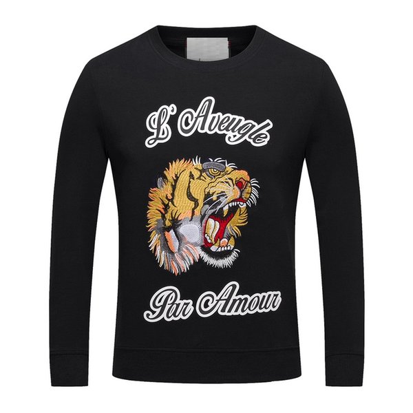 world fashion brand men hoodies high-end tiger letter printing Sweatshirts long sleeve mens cotton clothing black dark blue