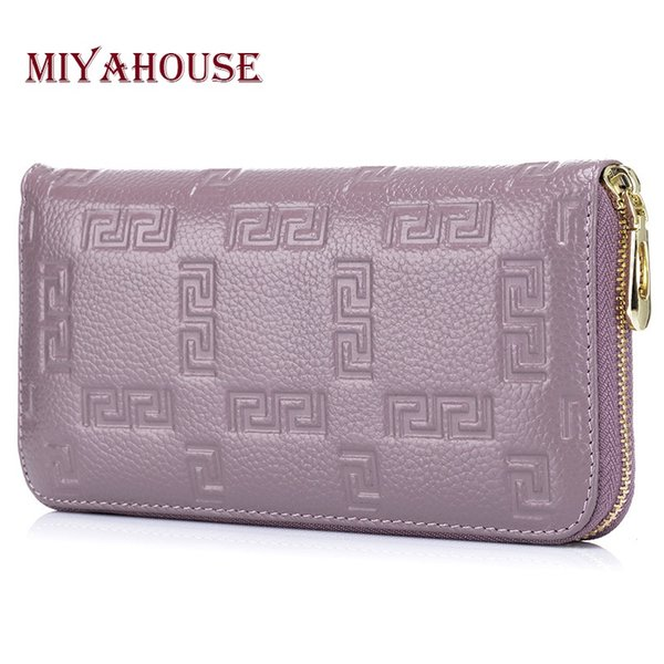 Miyahouse Genuine Leather Brand Designer Long Female Purse Print Pattern Zipper Wallets Clutch Luxury Leather portefeuille femme