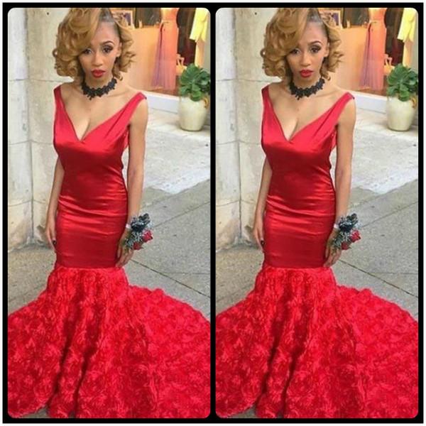 Vestido De Fiesta 2017 Sexy Red 3D Rose Flowers Ruffles Mermaid Black Grils Prom Dresses Deep V Neck Eveing Party Gowns