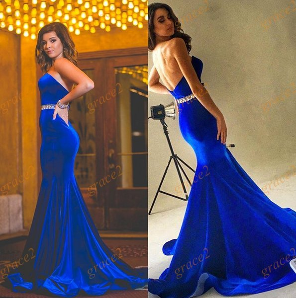Velvet Evening Dresses 2017 with Beaded Sash and Open Back Real Photos Mermaid Style Prom Dress Sweep Train Royal Blue Formal Wear Gowns