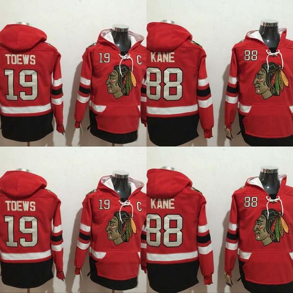 Mens Chicago Blackhawks Hoodies Jersey 19 Jonathan Toews 88 Patrick Kane 100% Stitched Embroidery Logos Sweatshirts Hockey Jerseys Cheap Red