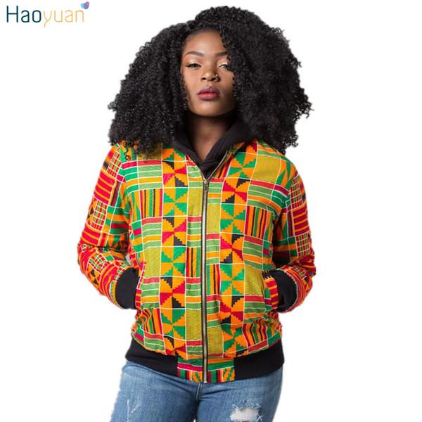 HAOYUAN Dashiki veste femmes africaine imprimer automne hiver bombardier vestes vêtements traditionnels streetwear casual manteau basique q1110
