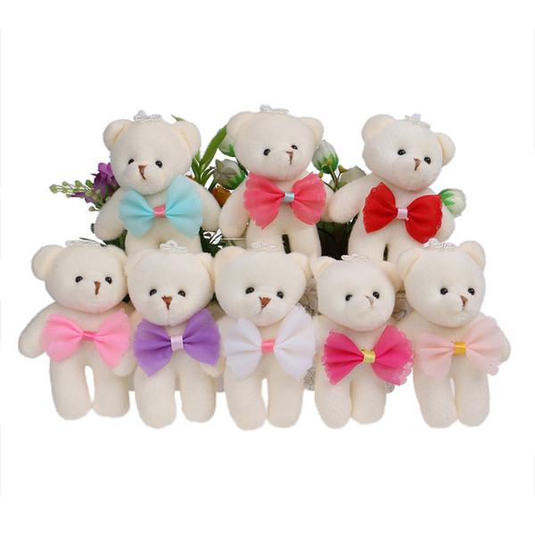 Mezclado 8 colores juguetes de peluche arco estilo coreano lindo mini bebé niñas oso juguetes muñecas de color caramelo Ramos de flores