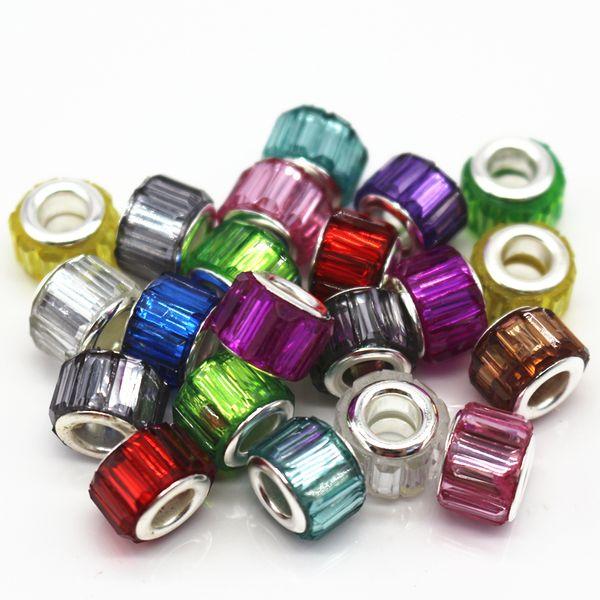 100 pcs Mixte Couleur 8x11mm Diy Résine Perles Argent Plaqué Cordon Grand Trou Charmes Accessoires Collier Bracelet Fit Bijoux Bracelet Résultats