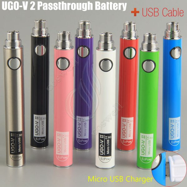 Original UGO V II 2 650 900mah EVOD ego 510 Battery micro USB Passthrough Charge with USB Cable vaporizers e cigs O pen Vape batteries