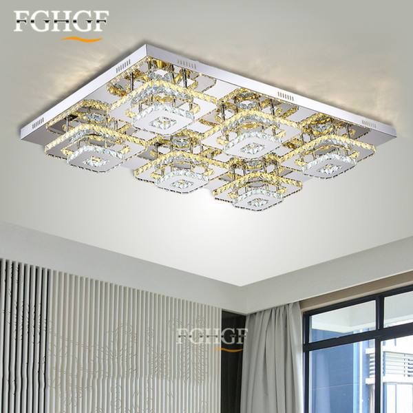 LED Sqaure Crystal Chandelier Ceiling Light Fixture Flush Mounted Acrylic White LED Aisle Ceiling Lamp Hallway Porch Light Different sizes