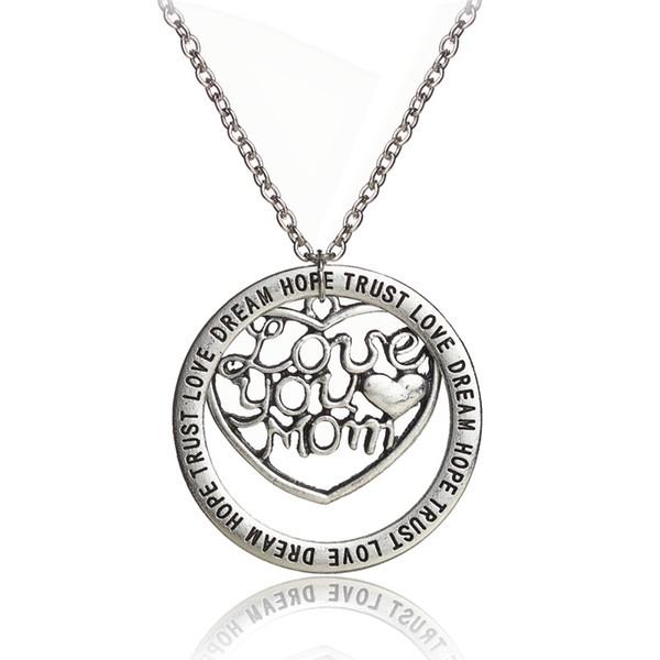 12 pcs / lot New Fashion famille Bijoux I love maman collier pendentif collier pour mère bijoux cadeau de noël