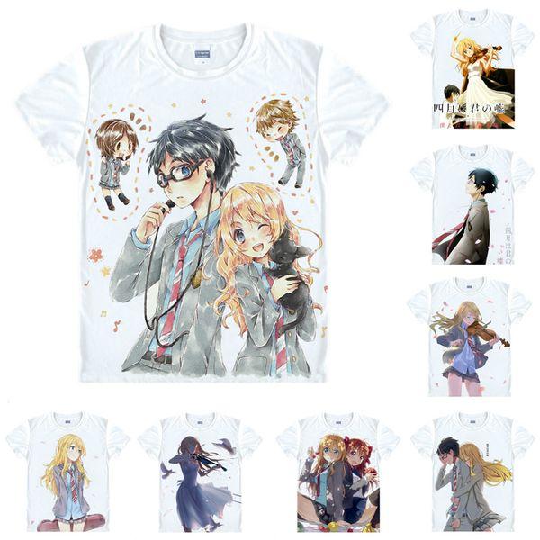 Anime Shirt Kimiuso Your Lie in April T-Shirts Multi-style Short Sleeve Kousei Arima Kaori Miyazono Cosplay Motivs Hentai Shirts