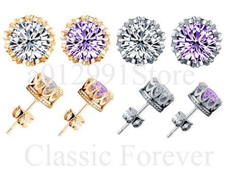 2017 Hot4colors Korean Factory Direct Gold-plated Silver Earring Luxury Korean Wedding Crown Earrings Zircon Earring Women Girl men Earrings