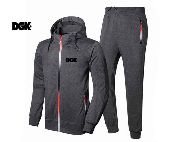 203 FREE SHIPPING New Autumn Men's Tracksuits hip hop DGK Hoodies+pants Dragon Tattoo Printing Male Sweatshirt suit