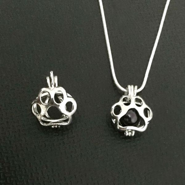 Paw Print Locket colgante montajes puede poner en un 7-8 mm perla joya perla jaula colgante collar de bricolaje accesorios de pulsera encantos encantadores lindos