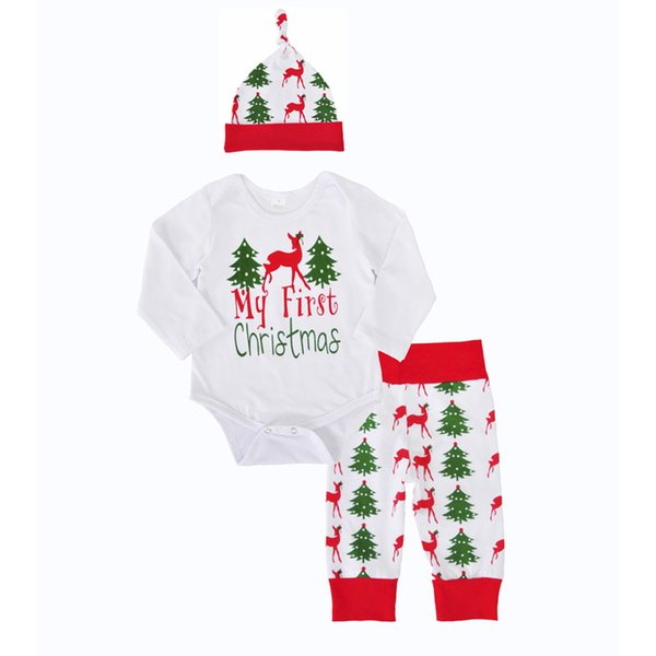 Boys Girls Clothing Sets Christmas Deer Winter Autumn Spring Casual Suits Shirts Pants Hat Infant Outfits Kids Tops & Shorts 0-24M
