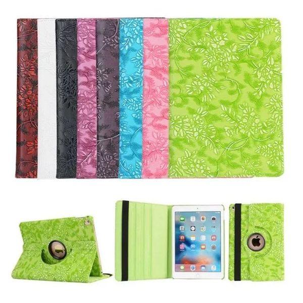 Magnetic 360 Rotating Grape Flower Flip PU Leather Smart Cover Case For iPad 2 3 4 5 6 Air Air2 Mini iPad6 iPad5 Pro 9.7