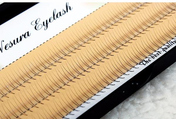 8/10 / 12mmNatural C Curl 2D Preto Individual Lash Y Lash Cílios Postiços Extensão Beleza Dicas Grande olho 0.07mm