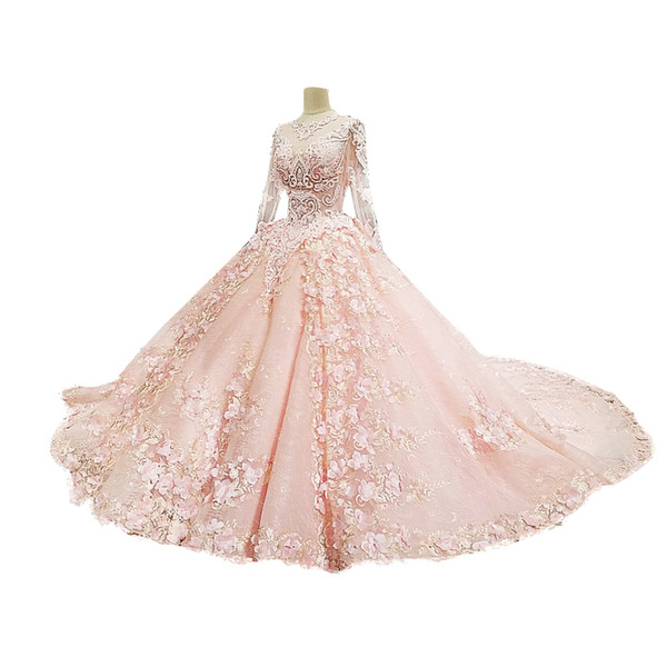 2018 New Arrival Ball Gown Royal Court Wedding Dresses With Appliques Long Sleevees Custom Made Formal Chinese Wedding Guest Dress