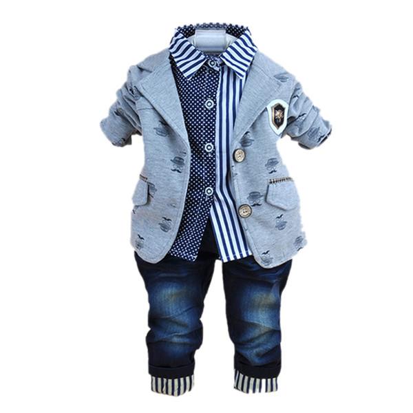 2017 nova moda bebê roupas de inverno para 3 pcs menino roupas ternos com camisas polo de algodão conjuntos de calça jeans