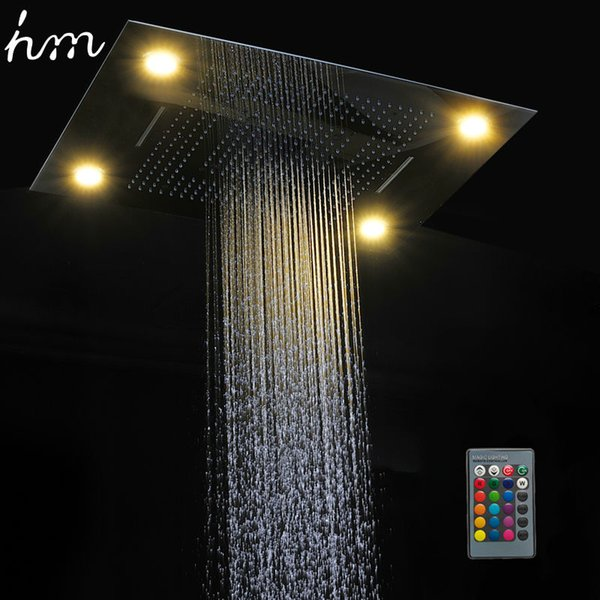 hm multi function led light shower head 600800mm ceiling rain shower remote control led