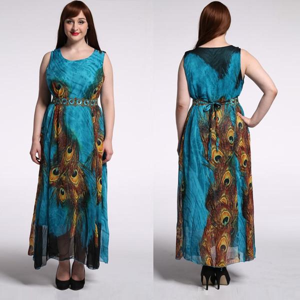 Wholesale Bohemian Chiffon Blue Peacock Print Dress Sleeveless O-neck Evening Prom Maxi Dresses Plus Size M-9XL