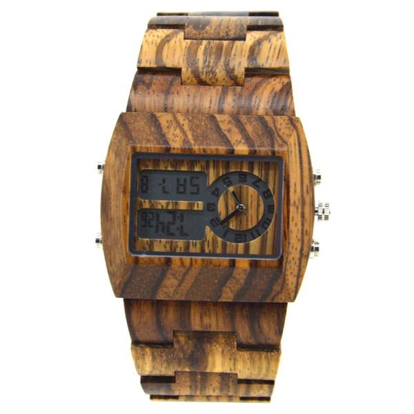 Bewell Men Sport Multifunction Watch Timer Analog Quartz Movement Wristwatches Wood Dial Watch for Men ZS-W021A