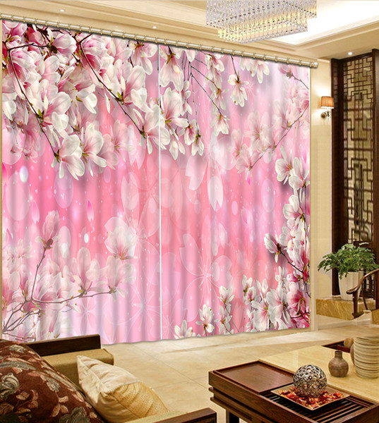 High Quality Costom pink fower forest custom curtain fashion decor home decoration for bedroom
