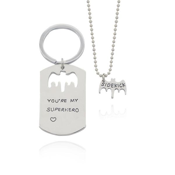 2017 Fashion Bat Heart Pendant Neckalce Keyring Letter You're My Superhero & Dad Sidekick Beads Chain Necklaces Keychain Sets