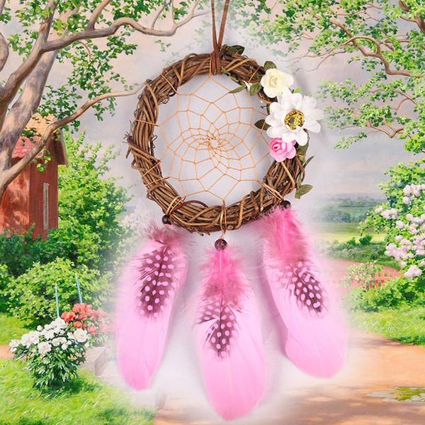 Pink Wall Hanging Dream Catcher Gran pluma hecha a mano de cuentas Dream Catcher DIY Dreamcatcher para la decoración del hogar
