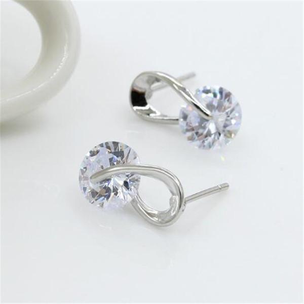 Diamond Earings Beauty White DHL CZ Cubic Zirconia Women Stud Earrings korea Trendy Christmas Gifts Sterling Silver Plated Fashion Jewelry
