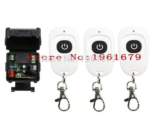 Wholesale- AC 220 V 1 channel RF mini Wireless Remote Control 1 * Receiver & 3 * Transmitter 315 mhz or 433 mhz