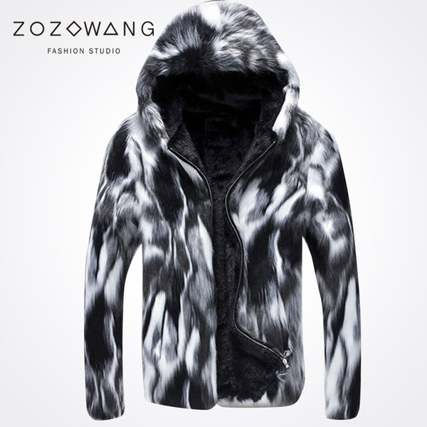 top popular Wholesale- 2017 new special winter fur coat casual men's wild thick fur coat Leather grass black and white fashion! 2019