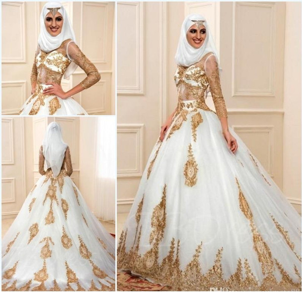 Discount Muslim Wedding Dresses 2017 Gold Lace Applique Long Sleeve ...